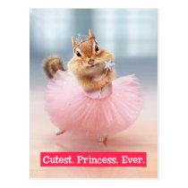 Cute Chipmunk Ballerina in tutu at Dance Studio Postcard