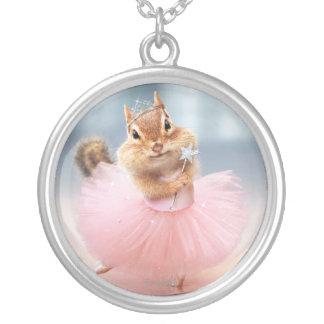 Cute Chipmunk Ballerina in tutu at Dance Studio Round Pendant Necklace