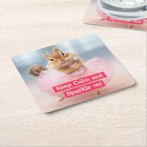Cute Chipmunk Ballerina in tutu at Dance Studio Square Paper Coaster