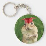 Cute Chipmunk Graduate Basic Round Button Keychain