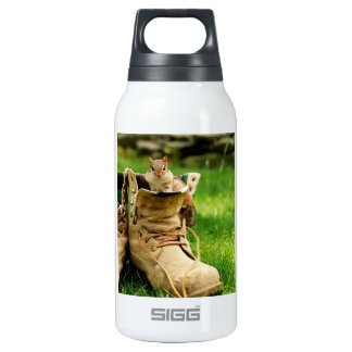 Cute Chipmunk in Boots Insulated Water Bottle