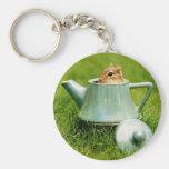 Cute Chipmunk in Teapot Basic Round Button Keychain