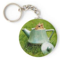 Cute Chipmunk in Teapot Keychain