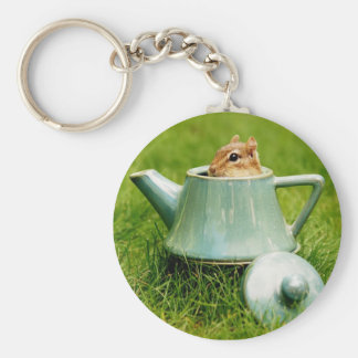 Cute Chipmunk in Teapot Keychain