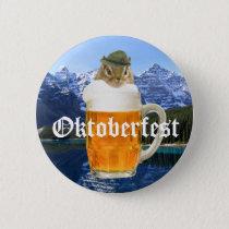 Cute Chipmunk Oktoberfest Mountains Button