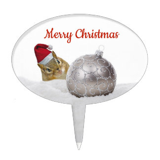Cute Chipmunk Silver and Snow Christmas Holiday Cake Topper