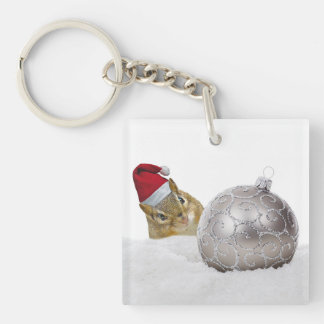 Cute Chipmunk Silver and Snow Christmas Holiday Keychain