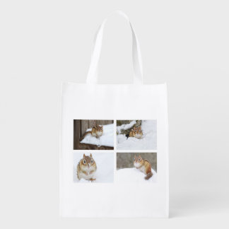 Cute Chipmunk Sitting in the Snow 4 Photo Collage Grocery Bag