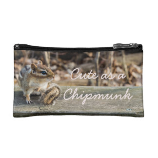 Cute Chipmunk Sitting on Wooden Rail in Forest Cosmetic Bag