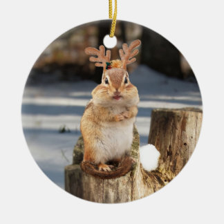 Cute Chipmunk with Antlers Ceramic Ornament
