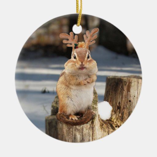 Cute Chipmunk with Antlers Double-Sided Ceramic Round Christmas Ornament