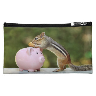 Cute Chipmunk with Funny Money Piggy Bank Picture Cosmetic Bag