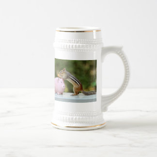 Cute Chipmunk with Funny Money Piggy Bank Picture Beer Stein