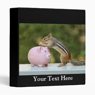Cute Chipmunk with Funny Money Piggy Bank Picture Vinyl Binder