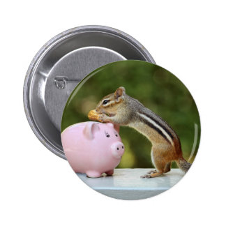Cute Chipmunk with Funny Money Piggy Bank Picture Pinback Buttons