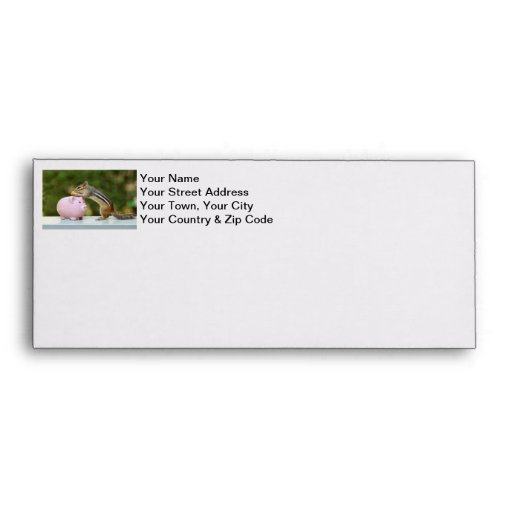 Cute Chipmunk with Funny Money Piggy Bank Picture Envelopes