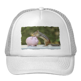 Cute Chipmunk with Funny Money Piggy Bank Picture Trucker Hat