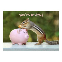 Cute Chipmunk with Funny Money Piggy Bank Picture Invitation