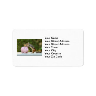 Cute Chipmunk with Funny Money Piggy Bank Picture Label