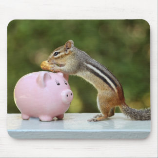Cute Chipmunk with Funny Money Piggy Bank Picture Mouse Pad
