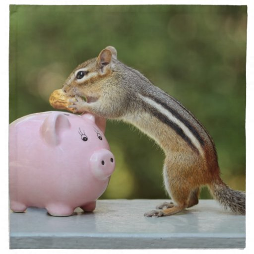 Cute Chipmunk with Funny Money Piggy Bank Picture Printed Napkins