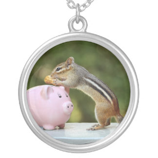 Cute Chipmunk with Funny Money Piggy Bank Picture Personalized Necklace