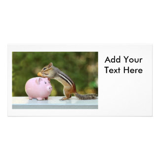 Cute Chipmunk with Funny Money Piggy Bank Picture Photo Greeting Card