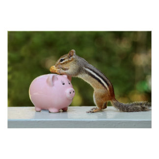 Cute Chipmunk with Funny Money Piggy Bank Picture Poster