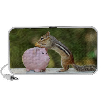 Cute Chipmunk with Funny Money Piggy Bank Picture Portable Speakers