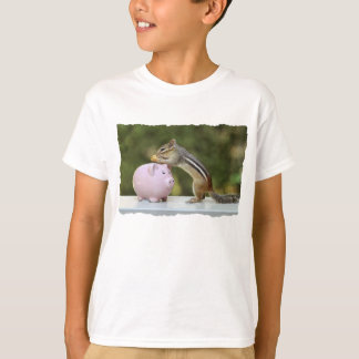 Cute Chipmunk with Funny Money Piggy Bank Picture T-Shirt