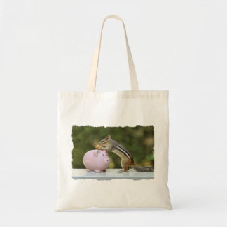 Cute Chipmunk with Funny Money Piggy Bank Picture Tote Bag