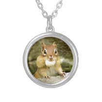 Cute Chipmunk with Large Treat Silver Plated Necklace