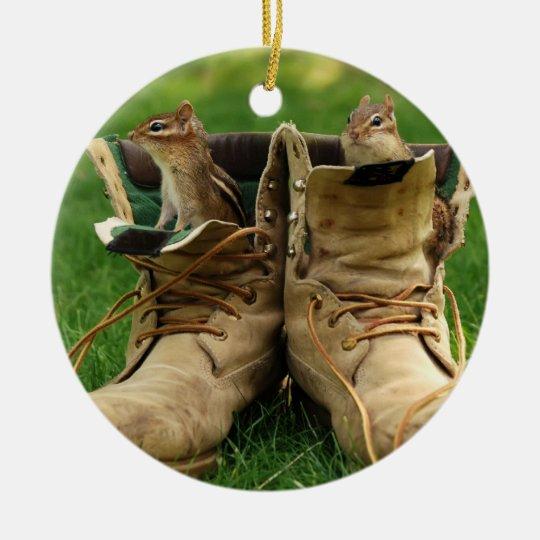 Cute Chipmunks in Boots Ceramic Ornament