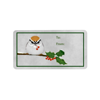 Cute Chipping Sparrow with Holly Berries Gift Tag Label