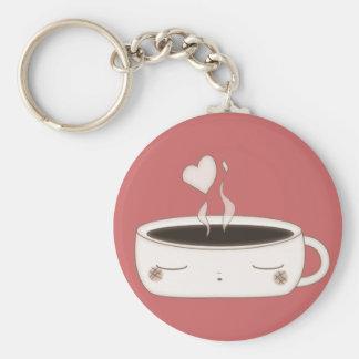 cute choco cup basic round button keychain
