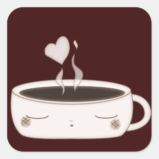 cute choco cup square sticker