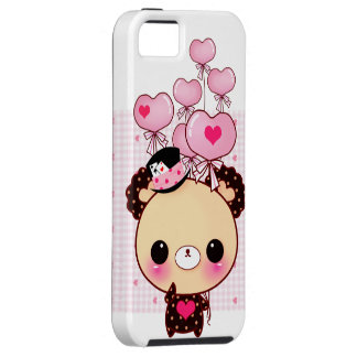 Cute chocolate bear and pink heart-shaped balloons iPhone SE/5/5s case