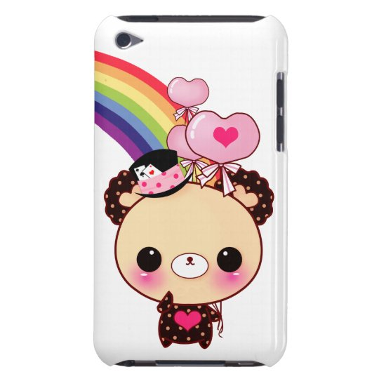 Cute chocolate bear with balloons and rainbow barely there iPod cover