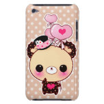 Cute chocolate bear with heart-shaped balloons barely there iPod covers