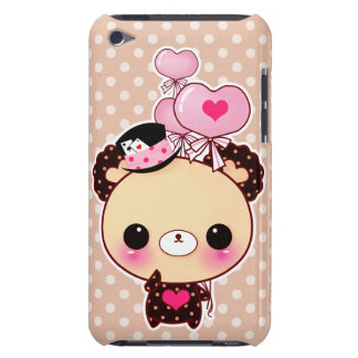 Cute chocolate bear with heart-shaped balloons Case-Mate iPod touch case