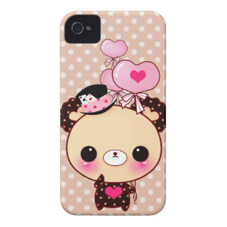 Cute chocolate bear with heart-shaped balloons iPhone 4 case