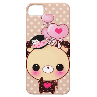 Cute chocolate bear with heart-shaped balloons iPhone SE/5/5s case