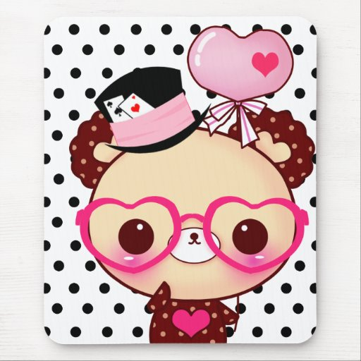 Cute chocolate bear with pink glasses mouse pads