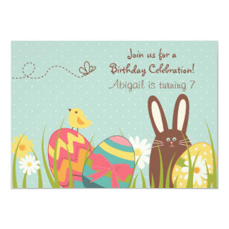 Cute Chocolate Bunny and Easter Eggs Birthday Card