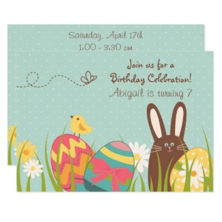 Cute Chocolate Bunny and Easter Eggs Birthday Invitation