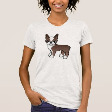 destei Cute Chocolate Cartoon Boston Terrier Dog T-Shirt
