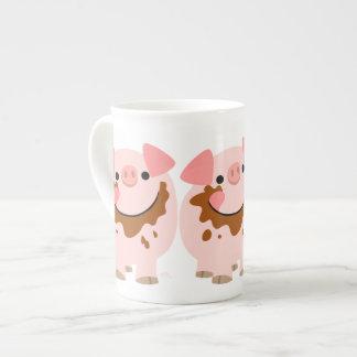 Cute Chocolate Cartoon Pig Bone China Mug