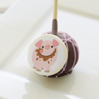Cute Chocolate Cartoon Pig Cake Pop Cake Pops