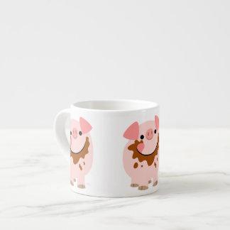 Cute Chocolate Cartoon Pig Espresso Mug