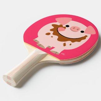 Cute Chocolate Cartoon Pig Ping Pong Paddle Ping Pong Paddle